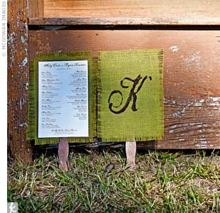 The fan ceremony programs were made out of green burlap and stock paper.