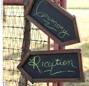 Chalkboard signs directed guests to the ceremony and reception areas.