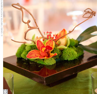 Modern Orchid Centerpieces
