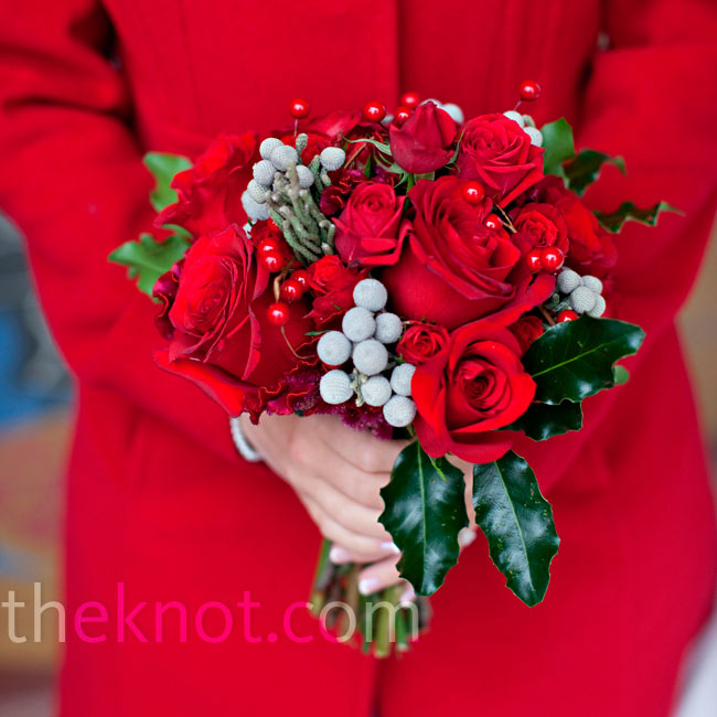 The bridesmaid bouquets were similar to Kristina's, but with holly leaves and berries instead of silver seeded eucalyptus.