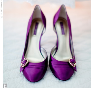 Christine bought three pairs of purple shoes for her wedding before deciding on these satin pumps.