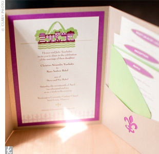 A friend put together the purple and green invites, featuring the St. Louis skyline and a few of the couple's other favorite things—namely their dog, Nuala, on the RSVP card.