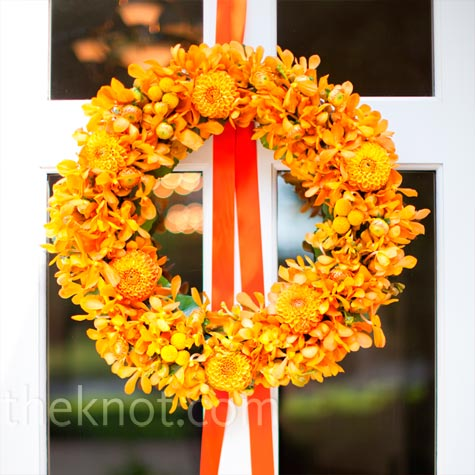 Orange Floral Wreath