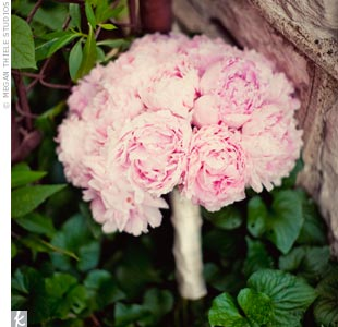 "Liz carried light-pink peonies (what else?) tied off with an ivory ribbon. ""It was very simple and smelled fabulous!"" she says."
