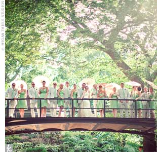 Liz and Dave's 16-person bridal party wore clover-green silk shantung dresses by Jenny Yoo and summery seersucker suits from Brooks Brothers.