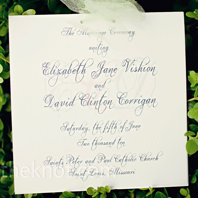 The programs were simple: white card stock tied off with light-green ribbon and printed in a cursive font.