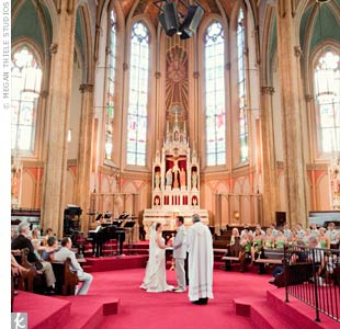 The couple didn't add any extra decorations, so as not to distract from Sts. Peter and Paul Catholic Church's expansive architecture and stained-glass windows.