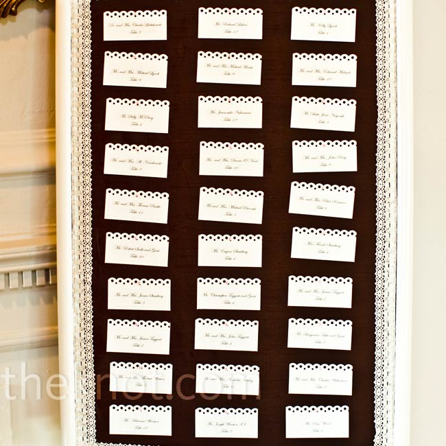 Andrea's mother and grandmother painted a frame a weathered shade of white for an antiqued appearance and pinned the cards to the brown silk background.