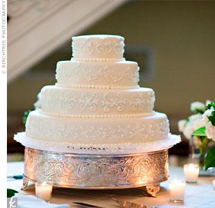 White Scrollwork Cake