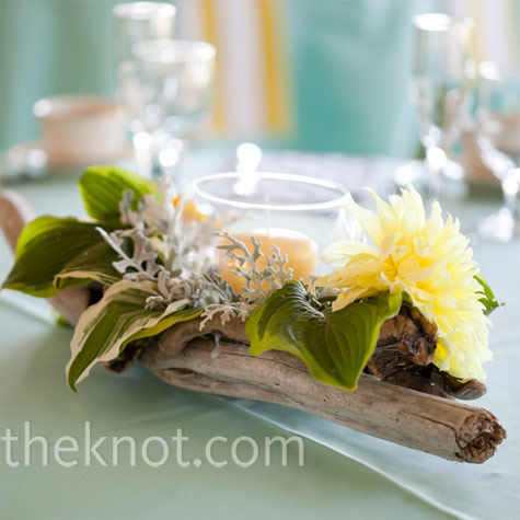 Candle and Driftwood Centerpieces