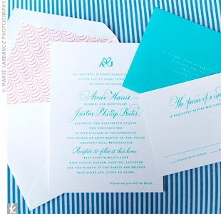 Aqua and Coral Invitations