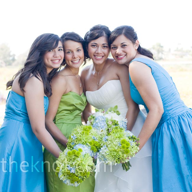 The bridesmaids picked their own dresses within the color palette.