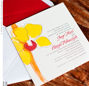 The couple chose a yellow, orange and red floral design with a minimalist, Hawaiian vibe.