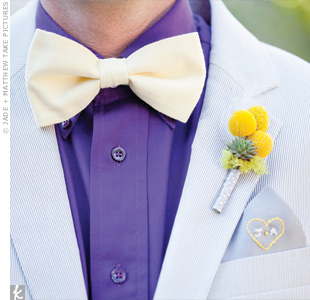 A grouping of yellow craspedia accented with a tiny succulent contrasted nicely against Jon's gray pinstripe suit.
