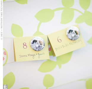 Photo Button Escort Cards