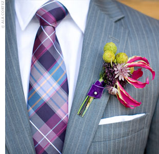 Dave wore a boutonniere of brunia, allium and trachelium flowers and bulbs on his lapel.