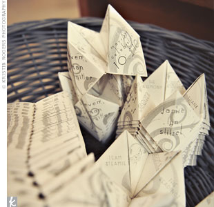 They were folded into cootie catchers and displayed in a basket at the ceremony.