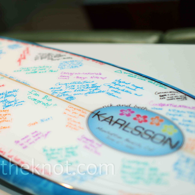 All the guests wrote on this custom-designed surfboard.
