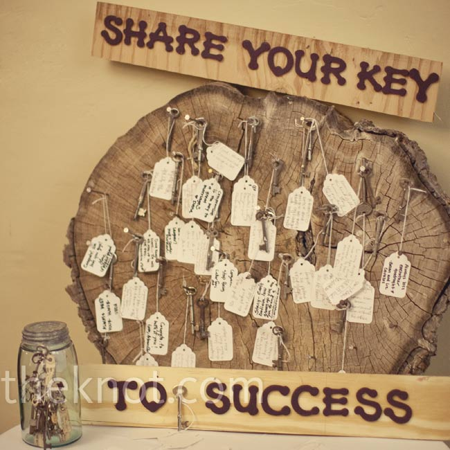 Guests shared their keys to a happy marriage, which they wrote on tags attached to skeleton keys and hung on this piece of wood.