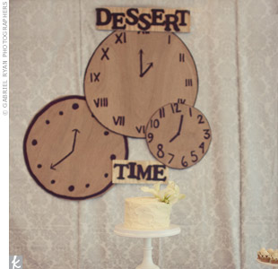 "A ""Dessert Time"" backdrop for the cookie and cake table was a perfect way to tie in the clock theme."