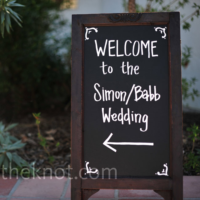 This chalkboard sign led guests in the direction of the wedding.