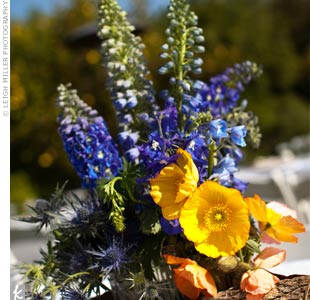 Blue and Yellow Centerpieces