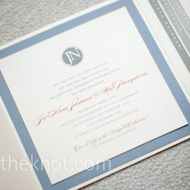 A friend of the couple designed all of the wedding stationery, including the invitations, which they had printed on paper with a metallic finish for a modern yet sophisticated look.
