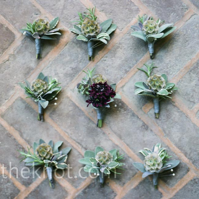 The guys wore boutonnieres of scabiosa pods and sage.