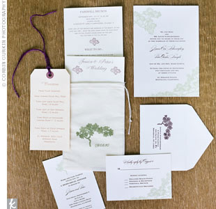 These tree-motif invitations were printed with chocolate, sage and plum inks.
