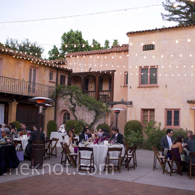 Bulb lights strung across the courtyard gave the space a romantic look.