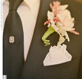 Tai's boutonniere was made up of astilbes and a tiny pink cymbidium orchid.
