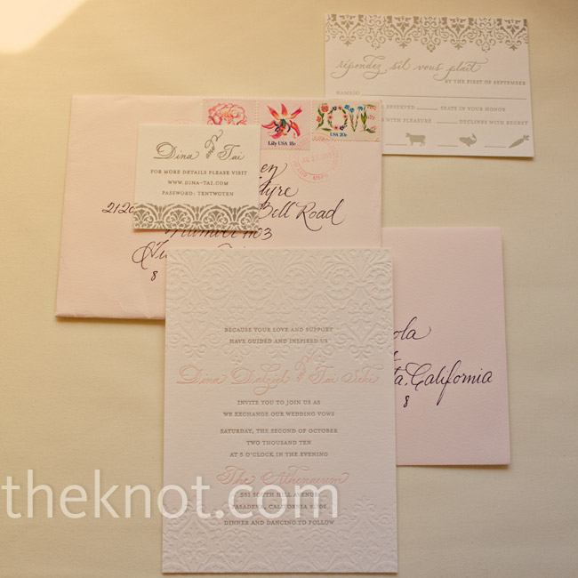 The blush-pink and gray invitations were classic and elegant. For a personal touch, the couple hired a calligrapher to hand write the location and their names on each invite.