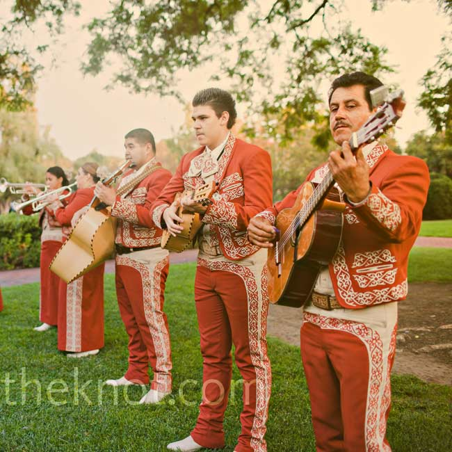A mariachi band led guests from the ceremony to the cocktail-hour area and stayed to play a few songs after the couple's entrance.