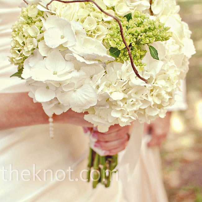Pieces of curly willow gave Jennifer's white and green hydrangea bouquet a bit of dramatic structure.