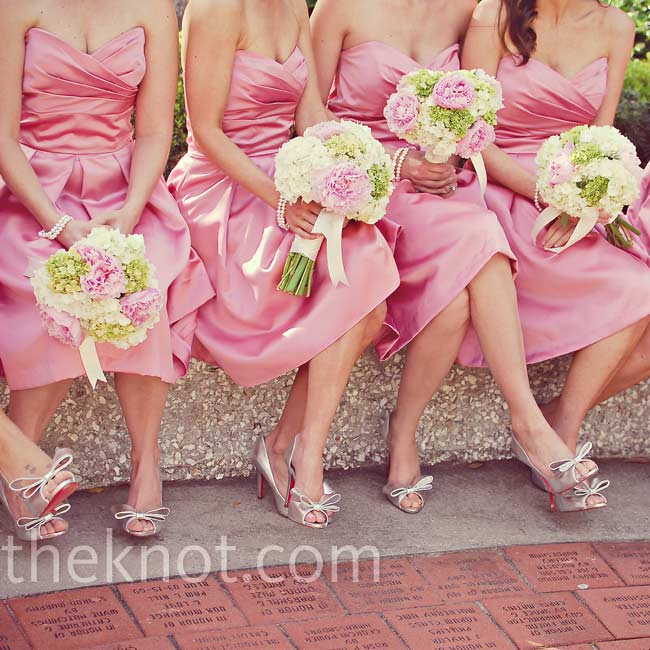 The ladies carried full, round bouquets of pink peonies and green and white hydrangeas.