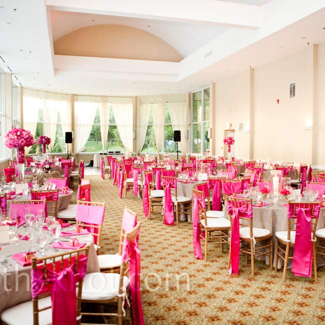 After the ceremony, the room was transformed into an elegant reception space awash in the signature hue of the day.