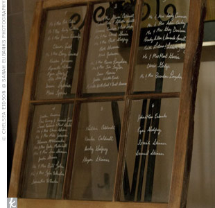 An old window displayed the seating arrangement with the guests' names etched on the glass in white paint.