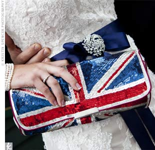Kait's UK-flag sequin clutch perfectly matched her wedding style.