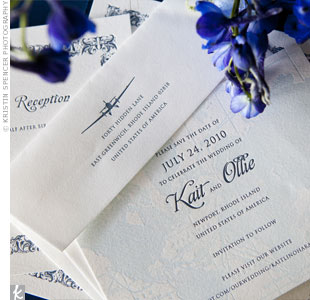 Kait and Ollie introduced their travel theme with light-blue letterpress map save-the-dates.