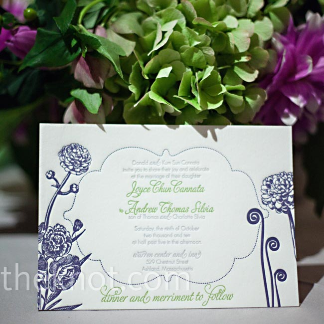 The purple and green fiddlehead fern motif started with the invitations, and the couple carried it through all the wedding stationery.