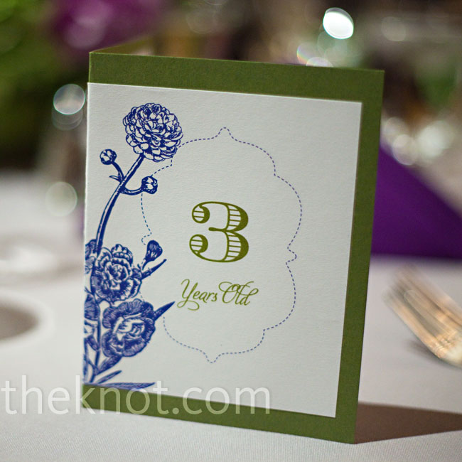 The table numbers (which corresponded to photos of the couple at various ages) were printed on card stock with a floral motif.