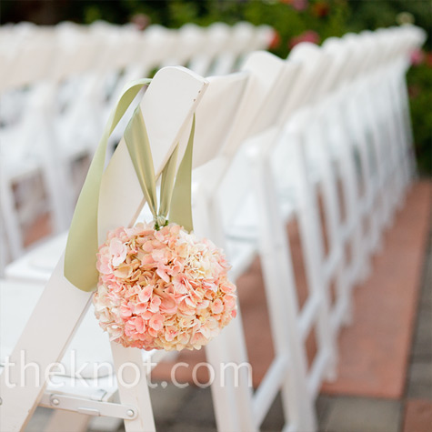 Pink Pomander Ceremony Decor
