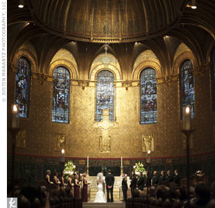 The couple got married at Trinity Church, one of Anne's favorites in the city for its domed altar and rich golden coloring.