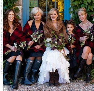 Liana made sure that her girls wouldn't get cold at the ceremony by giving them matching plaid wraps.