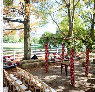 Liana and Michael exchanged vows amid birch trees with trunks covered in apples.