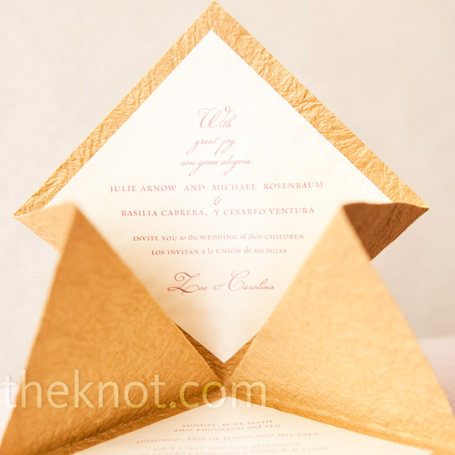 The custom invitations included details in English, Spanish and Hebrew.