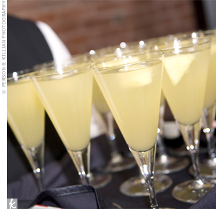 The couple served a mix of prosecco, pineapple juice and St-Germain to toast their golden future.