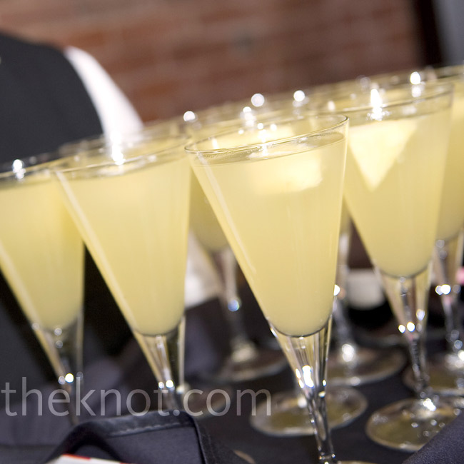 "The couple served a mix of prosecco, pineapple juice and St-Germain to toast their ""golden future."""