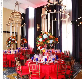 For a red-hot reception, the couple had bright-red linens and seat cushions.