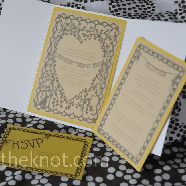 Caitlin hand-drew the design herself and had the invites printed on paper to match the color palette.